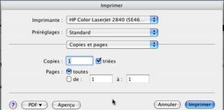 Commande Imprimer (POMME + P)
