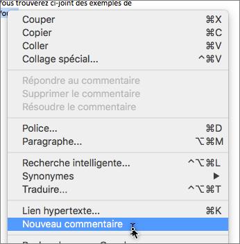 Nouveau commentaire dans Office Mac 16.26