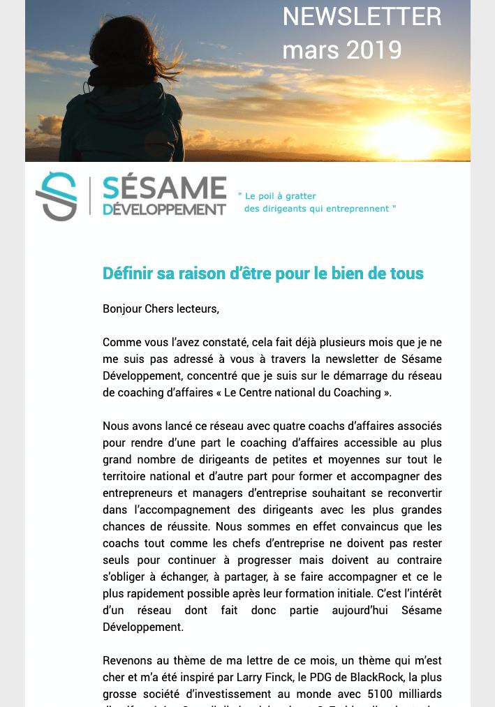 Newsletter Sésame Développement