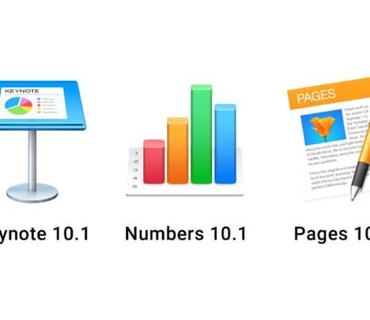 Keynote 10.1 Numbers 10.1 Pages 10.1